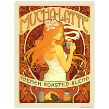 Mucha Latte French Roasted Coffee Decal 26 x 34 Peel and Stick Decor