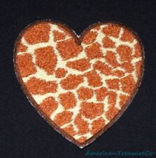 Embroidered Giraffe Brown Animal Print Faux Fur Heart Love Patch Iron On Sew On