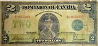 1923 Dominion of Canada - Large $2 Note - Blue Seal # 114