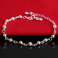 Women Silver Plated Crystal Chain Bangle Cuff Charm Beaded Bracelet Jewelry