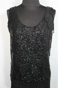 VINTAGE 1960'S BLACK SEQUIN AND BLACK BEADED SLEEVELESS TOP SIZE LARGE 42