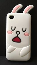 *ADORABLE CUTE LOVABLE 3D BUNNY RABBIT IN THICK SILICONE IPHONE 4/4S CASE-WHITE*