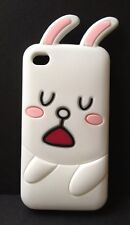 **CUTE & ADORABLE 3D BUNNY RABBIT IN THICK SILICONE IPHONE 4/4S CASE IN WHITE**
