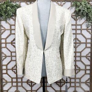 $280 Tahari Women's Size 16P Ivory/Beige Open Front Linen Blazer Sport Coat