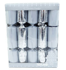 10 Deluxe Silver and White Christmas Crackers (X-01)