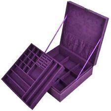 Jewelry Box Purple Storage Cabinet Organizer Necklace Chest Display Case Armoire