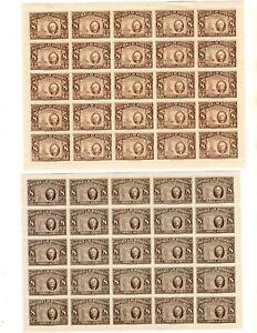1946-7 HONDURAS ROOSEVELT SHEETS OF 25 FDR & REDRAWN MNH