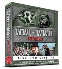 WW1 & WW2 STORIES  5 DVD GIFT TIN SOMME SECRET TUNNEL VE DAY MORE World war 1 2