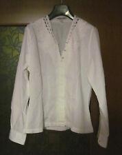 Camicia donna, in cotone piquet, bianca, Nara camicie taglia 42