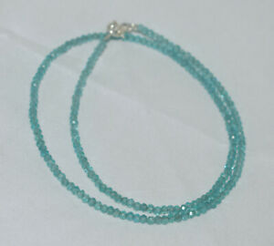 """Sky Apatite Gemstone 3 mm Rondelle Faceted Beads 20"""" Strand Necklace BH08-85"""