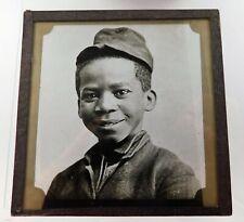 Antique Glass B&W Magic Lantern Slide Ethnic Young Black Boy With Cap