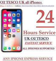 O2 TESCO IPHONE Xs Xs plus X 7 8 6 UNLOCKING 24 hrs can take upto 3 business day