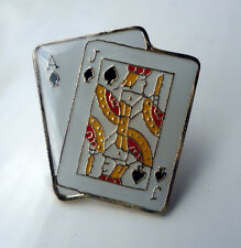 ZP113a BlackJack Ace Jack Spade pin badge Cards 21 Pontoon