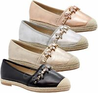 Ladies Womens Flats Diamante Slip On Espadrilles Sandals Summer Pumps Shoes Size