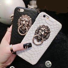 Fashion Lion Head Ring Holder Hard PC Back Cover Case For iPhone X 6S 7 8 Plus