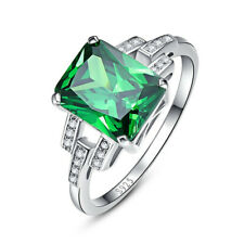Fashion Natural Beautiful Simple Emerald Silver Jewelry Lovers Ring Size 6