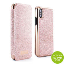 OFFICIAL Ted Baker PERI Mirror Folio Case Pink Glitter iPhone X / XS Rose Gold