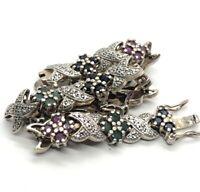 """Ross Simons Sterling Silver Bracelet 7.5"""" Sapphire Ruby Diamond Tennis Flower"""