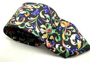 "FLORAL PAISLEY Buckingham Palace Men's Tie Black 100% Silk 3.5"" Width 56"" Long"