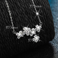 18K WHITE GOLD GF MADE WITH SWAROVSKI CRYSTAL PENDANT CLUSTER NECKLACE FLOWER