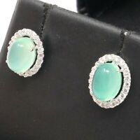 Genuine Vintage Green Jade Diamond Earrings 925 Sterling Silver Women Jewelry