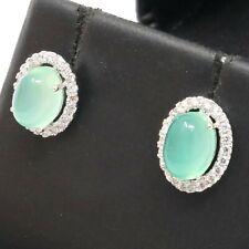 925 Sterling Silver Women Jewelry Genuine Vintage Green Jade Diamond Earrings