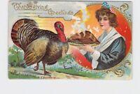 PPC POSTCARD THANKSGIVING GREETINGS TURKEY PATRIOTIC COLONIAL WOMAN PLATTER