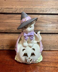 "Lenox Hocus Pocus ""Cat with Witch Hat on Pumpkin"" Halloween Figurine Pink Cape"