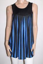 ADORE Brand Black Blue Striped Sleeveless Day Dress Size S BNWT #TC30