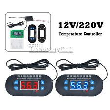DC/AC 12V/220V Red/Blue LED Heat Cool Thermostat Temperature Controller Sensor