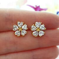 1.00 Ct Heart Shape Diamond Stud Flower Earrings Solid 10K Yellow Gold