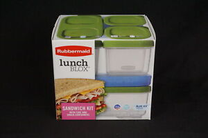 Rubbermaid Lunch Blox Sandwich Kit With Side Blue Ice Snack Containers New