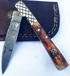 HAND FORGED  DAMASCUS STEEL FOLDING  KNIFE W/ CAMEL BONE&BRASS HANDLE FK96