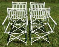 Set of 4 Antique/Vtg White Wrought Iron Indoor/Outdoor Patio Dining Arm Chairs