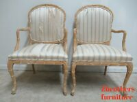 2 Century Furniture Fish Scales Carved Dining Room Arm Chairs Italian Regency