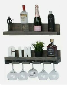 Double Wine & Glass Shelf, Alcohol Shelf, Bar Shelf Garden Bar Outdoor Bar