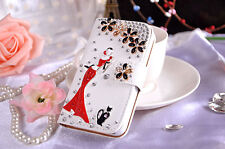 Luxury Bling Diamond Crystal Camellia Flower Leather Flip Card Wallet Case Cover