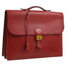 Auth HERMES Sac A Depeche 38 Business Hand Bag Red Veau Greine Couchevel JT07024