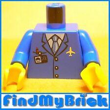 B041B Lego Airplane Crew Body w/ ID Blue Suit & Tie NEW