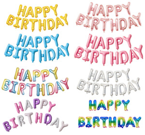 """Happy Birthday Large Banner Bunting Party Balloon Decoration Set 16"""" x 13 pieces"""