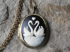 SWAN (S) FORMING A  HEART CAMEO LOCKET - ANTIQUED BRONZE, VINTAGE LOOK, QUALITY