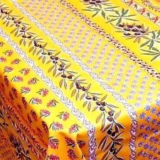 """LE CLUNY, OLIVES & MIMOSAS YELLOW, FRENCH PROVENCE COATED TABLECLOTH, 60"""" x 120"""""""