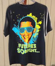 Obama shirt 'Futures SO BRIGHT' CARBON L Tee Short Sleeve 100% Cotton T-shirt