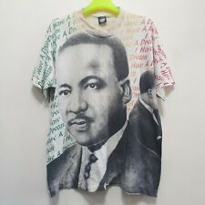 Vtg 90s MARTIN LUTHER KING JR. T-Shirt All Over Print MLK malcolm x acid wash