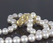 $6,000 Mikimoto 18K Yellow Gold 7-8mm Akoya Pearl 18'' DIamond Strand Necklace
