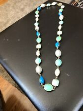 Amazing Long Talbots Shades Of Blue Green Bead Link Necklace