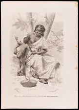 1880 - Gravure Négrillon fumant et prenant le sein de sa mère (Canal du Panama)