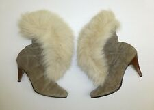 """Trotter Downes Womens 8 Gray 3.5"""" Fur Ankle Heel Boots Great Condition"""