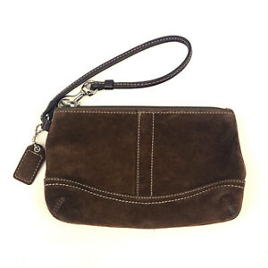 Coach Suede Leather Brown Travel Make Up Case Zip Close Key Fob Wristlet