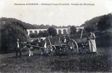 CPA 39 ENVIRONS D'ARBOIS ATTELAGE FRANC-COMTOIS VIADUC DE MONTIGNY (GROS PLAB